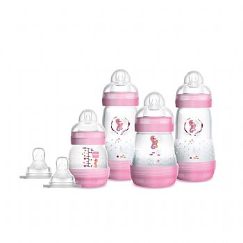 KIT 4 MAMADEIRAS FIRST BOTTLE ROSA E 2 BICOS ADICIONAIS - MAM