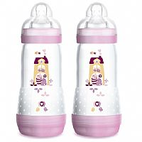 KIT 2 MAMADEIRAS DOUBLE PACK FIRST BOTTLE 320ML ROSA GATA - MAM